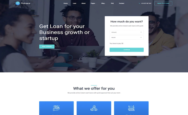 Finloans - Free Bootstrap Financial Service Template