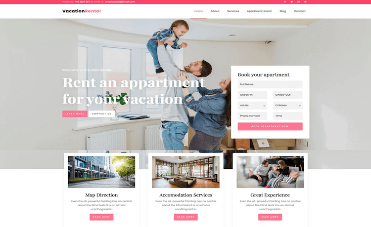 Vacation Rental - Free Hotel Booking Template
