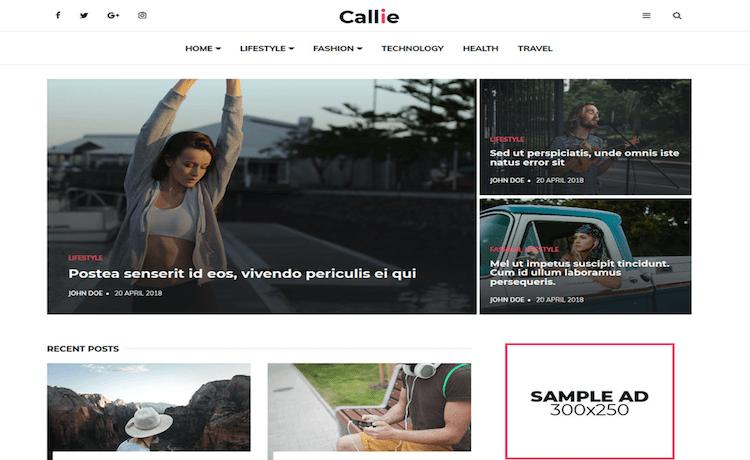 Callie - Free News & Magazine Template